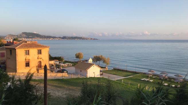 Agios Dionysios overlooking Zante town and the Ionian Sea towards Kefalonia